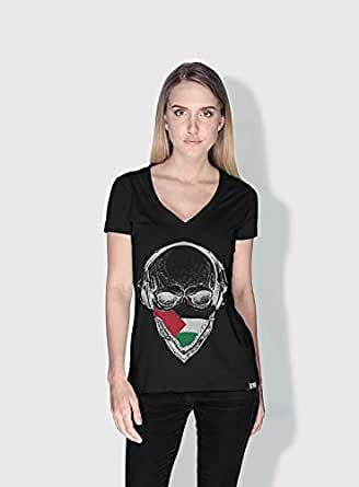 Creo Palestine Skull T-Shirts For Women - Xl, Black