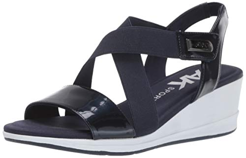 Anne Klein Women's NESSSY Wedge Sandal, Navy, 8.5 M US