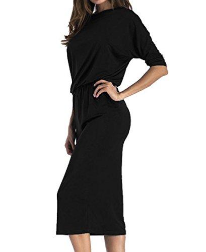 Dress Shoulder Tunic Sheath Coolred Cold Women Black Slim Pencil Fit Solid qFwxzn1PF