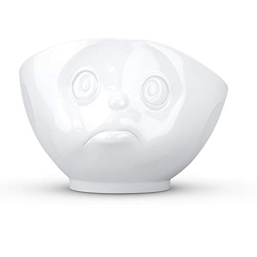 FIFTYEIGHT PRODUCTS TASSEN Porcelain Bowl, Sulking Face Edition, 16 oz. White, (Single Bowl) for Serving Cereal, Soup