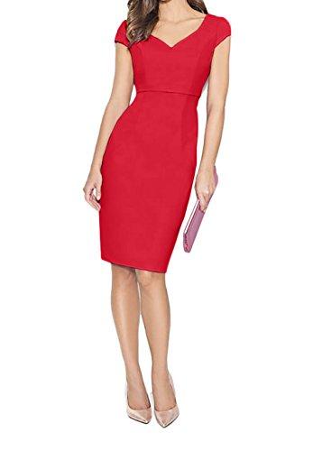 Partykleider Rot mit Rosa Damen Ballkleider Elegant Kurzarm Charmant Etuikleider Knielang Abendkleider nA7pYxqw