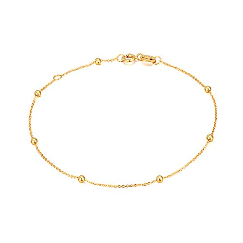 SISGEM 14K Gold Bracelets for Women, Bead Ball Dainty Thin Chain Bracelets for Girls (Yellow Gold, 14k) ()
