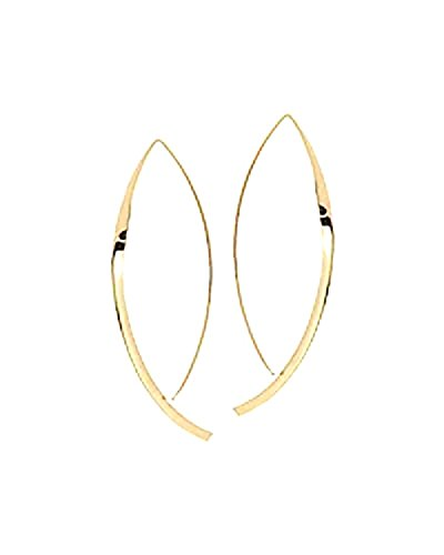 Upside Down Hoop Earrings 14K Yellow Gold Hooked on Hoops Inverted Hoops Gift for Women/Her Minimal Jewelry Hammered Flat by New England Jewelry Designs