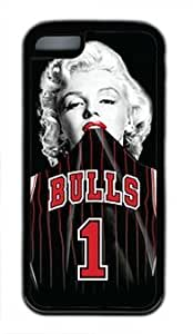 Famous Actress Marilyn Monroe in Chicago Bulls Shirt DIY Rubber Black iphone 5C Case Perfect By customizationhere hjbrhga1544