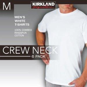 6 Pack Kirkland Signature Men's Crew Neck T-Shirts 100% Cotton Tagless - White (XL) (Signature Cotton Sweater)