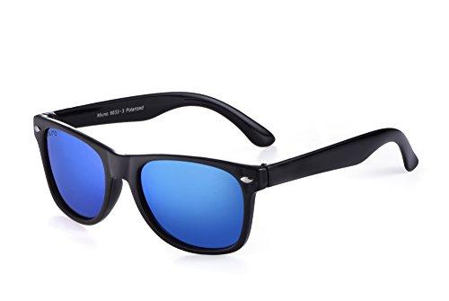 Miuno® Kinder Sonnenbrille Polarisiert Polarized Wayfare Etui 6833 (Hellblauverspiegelt)
