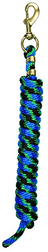 Weaver Leather Poly Lead Rope with a solid Brass 225 Snap, Black/Green/Blue