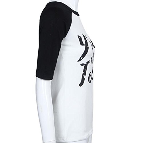 Tongshi Mujeres sueltan la manga corta de la blusa de las tapas ocasionales de la manera de la camiseta negro