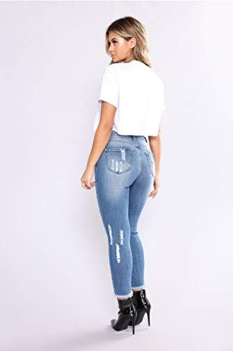 Stretch Nuova Cotone Moda Attillati Jeans DAMENGXIANG Donna Blue Da Buchi HAcfBIq6w6