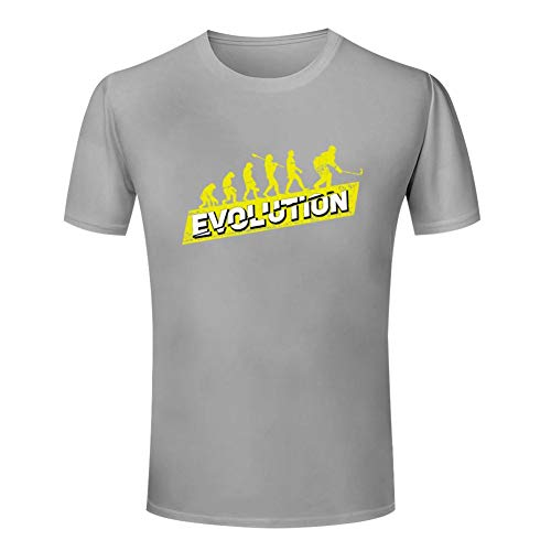 Ice Hockey Player Evolution | Women Cotton Summer Comfortable T-Shirt Breathable Casual Tee Gray ()