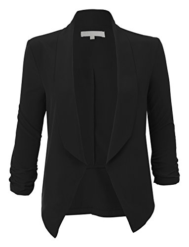 RubyK Womens Lightweight Ruched 3/4 Sleeve Open Front Blazer Jacket RBKWJC1174(BLACK)XX-Large