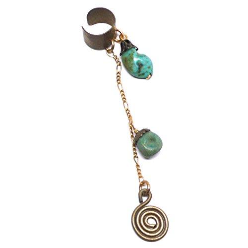 Jasper Chain Dangle Non-Pierced Single Earring ()