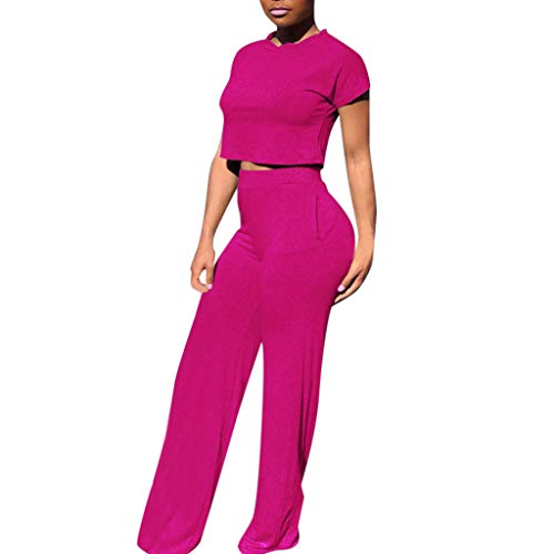 LYN Star  Women Casual O-Neck Short Sleeve Crop Tops High Waist Flare Long Pants Jumpers 2 Piece Outfits Sportswear Hot Pink