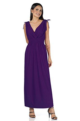 Ladies Floral Vines Imprimir Vestido de Vacaciones de Playa Casual de Verano Maxi día Solid Purple