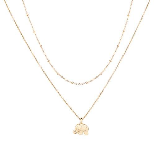 Lucky Elephant Pendant (Monily Layer Choker Necklace Lucky Elephant Pendant Beads Chain For Woman Jewellery)