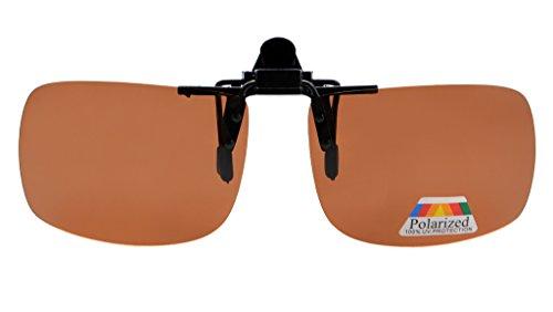 Eyekepper Rectangular Flip up Polarized Clip-on Sunglasses Brown