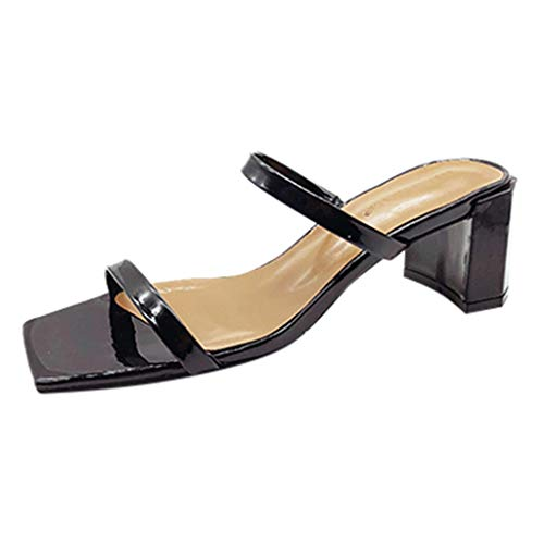 (Orangeskycn Summer Women Sandals Plus Size Fashion Open Toe Outdoor Solid Color Slippers Casual Square Heel Beach Shoes Black)