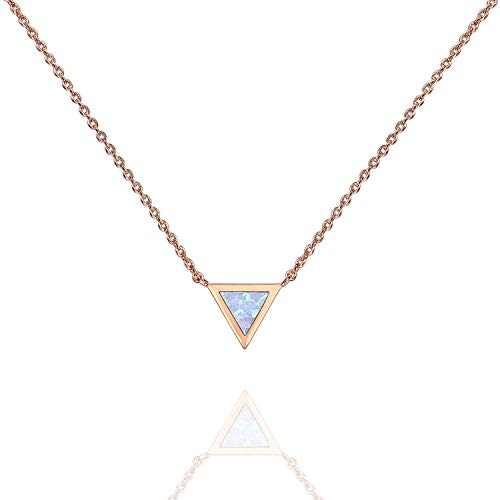 (Chemstar 14K Gold Plated Triangle Bezel Set Pink/White/Green/Blue Created Opal Necklace 16-18