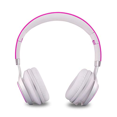 YHhao On-Ear Headsets Foldable Headphones with Mic and 3.5mm Detachable Cord for iPhone, iPad, Android Smartphones, PC, Computer, Laptop, Mac, Tablet,White-Purple