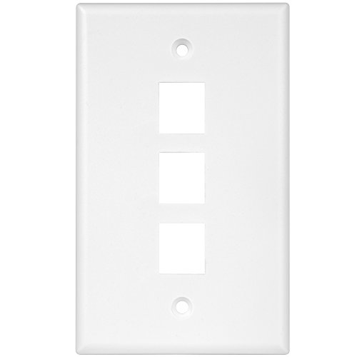 Enerlites 8873-W Keystone Jack Wall Plate by 1-Gang, 3-Port Multimedia Module Insert Cover for Voice Data Audio Video Connections, White