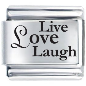 9mm Laser Etched Italian Charm - Live Love Laugh Laser Etched Italian Charm