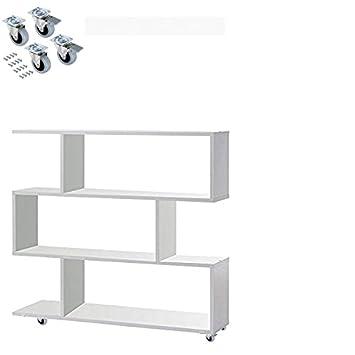 HABITMOBEL Mueble Estanteria con Ruedas, Color Blanco Brillo, Dimensiones 110 x 97 x 25 cm: Amazon.es: Hogar