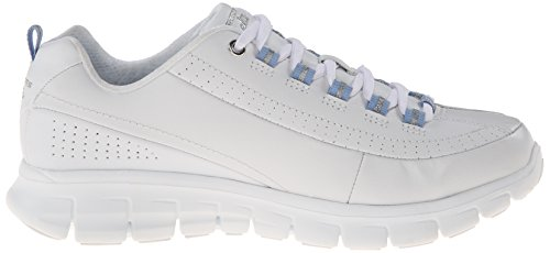 Sport Sneaker Blue leather Elite Training White Status Women's Skechers Synergy wFHYxw1