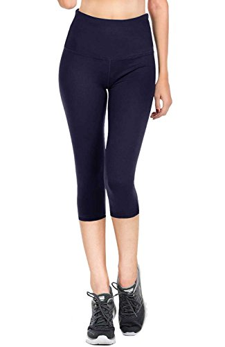 VIV Collection Signature Capri Leggings Soft w Pocket (XXXL, Navy)