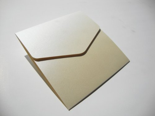 Small Square 122x125mm Opal/Ivory Pocketfold Wedding Invitation Wallets - Pack of 5 Pocketfold Invites & Plain Cream Envelopes (Opal Invitations)
