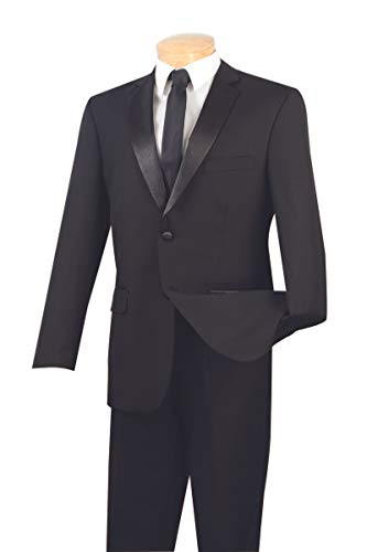 (VINCI 2 Button Single Breasted Classic Fit Poplin Dacron Tuxedo with Sateen Trimmed Pants T-2PP-Black-48L)