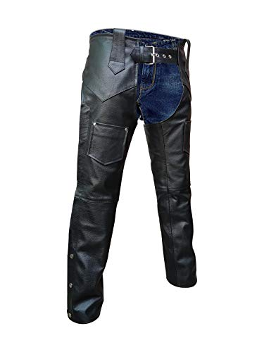 Mens Real Black Leather Chaps Motorcycle Bikers Chaps Trouser Pants Jeans
