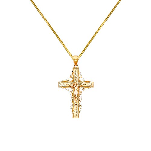 Square Crucifix Gold (Precious Stars 14k Yellow Gold Fancy Crucifix Cross Pendant 0.80-mm Square Wheat Chain)