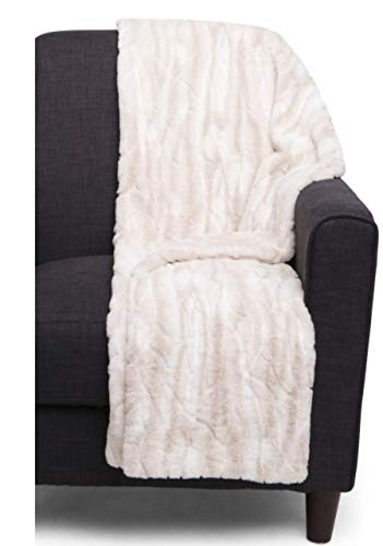 Tahari Home Faux Fur Throw, Luxury Light Plush Blanket in Tan Cream Marble
