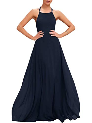 (Women's Halter A-Line Long Bridesmaid Dresses Strappy Chiffon Maxi Prom Dresses Navy Blue)