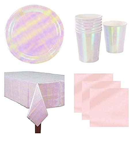 Iridescent Party Supplies - Party for 12 Guests: Large Plates, Cups, Opalescent Table Cover And Coordinating Napkins
