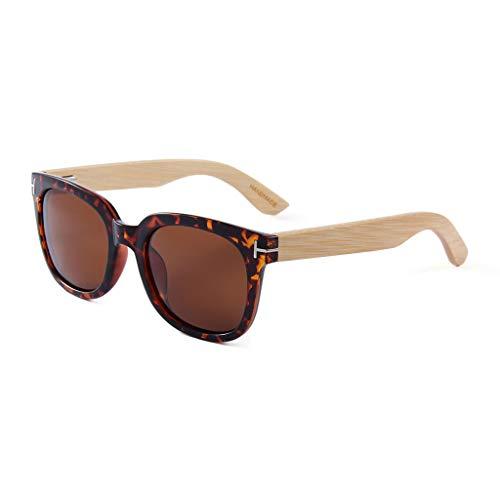Mano bambú Madera bambú sol Brazo Color de de del Hechas Unisex la a Lente Deslumbrante de Gafas con Gafas polarizadas Oro de Gafas Color Brown del vqwdnqp0