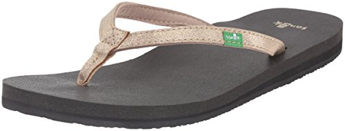 Sanuk Women's Yoga Joy Metallic Flip Flop, Champagne, 7 M US