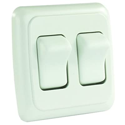 JR Products 12015 White Double SPST On-Off Switch with Bezel: Automotive