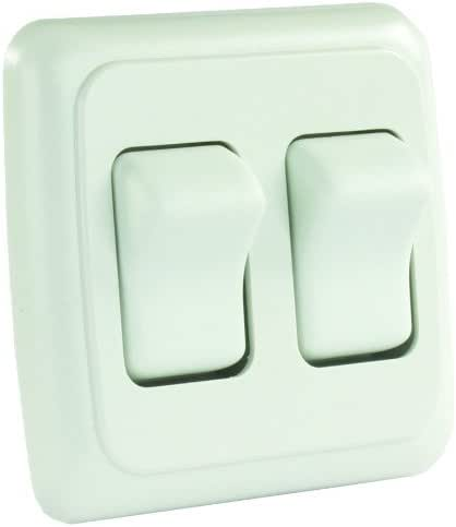 JR Products 12015 White Double SPST On-Off Switch with Bezel