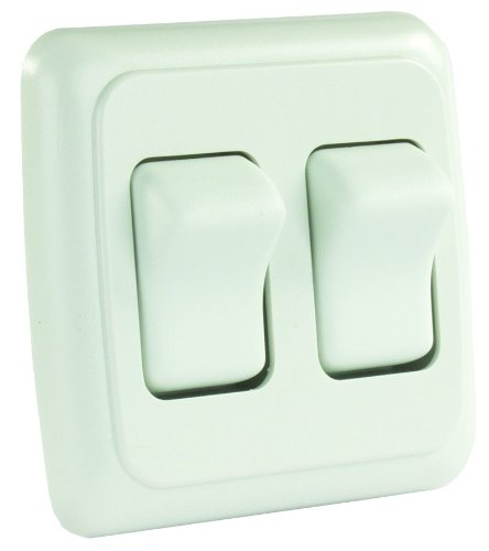 JR Products 12015 White Double SPST On-Off Switch with Bezel ()