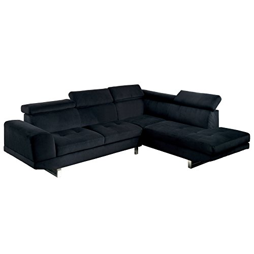 HOMES: Inside + Out Ketrell Foldable Headrest Sectional, Black