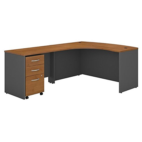 ure Series C Left Handed L Shaped Desk with Mobile File Cabinet in Natural Cherry ()