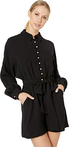 Juicy Couture Women's Button Front Romper Pitch Black Petite/X-Small