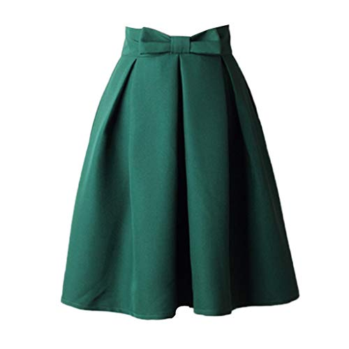 Sharemen Women's High Waist Knee Length Skirts Pleated Flared Skirts with Bow Pink(Green,2XL)