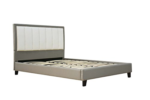 ACME Filart Gray and Cream Faux Leather Queen Bed (Cream Leather Headboard)