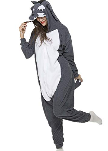 Unisex Animal Halloween Timber Wolf One-Piece Pyjamas Jumpsuit Cosplay Costumes Adult Womens Men X-Large for $<!--$27.99-->