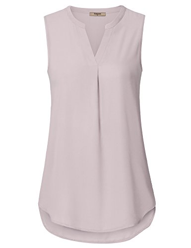 Sleeveless Collar Placket - Timeson Sleeveless Blouses for Women, Chiffon Tank Tops Elegant V Neck Tunic Blouse Loose Fit Flowy T-Shirt Tops for Women Daily Life #15 Light Pink Medium