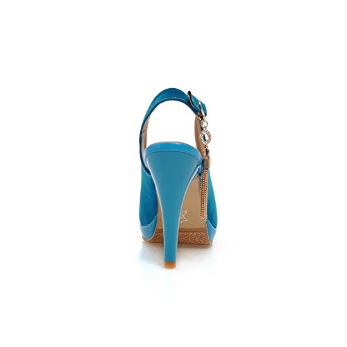 WeenFashion Buckle Solid Blue Round Heels Women's Closed Frosted Sandals High Toe PrPUq8