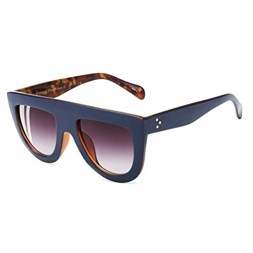 ROYAL GIRL Flat Top Sunglasses For Women Trendy Oversized Vintage Shades Tortoise Blue ()