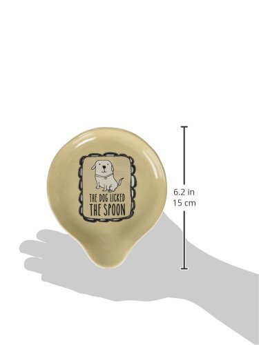 """Pavilion Gift Company It's Cats & Dogs-""""The Dog Licked The Spoon"""" Tan Ceramic Spoon Rest, Small, Beige"""